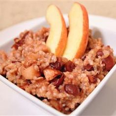 "Slow Cooker Oats | ""Delicious cinnamon-apple oats cook slowly all night in the slow cooker, and are ready for a hot breakfast the next morning."""