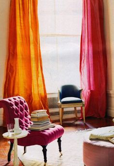 chair, orang, color, curtain