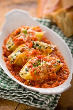 KALE AND RICOTTA STUFFED SHELLS An option is to use whole wheat lasagna noodles trimmed to 6″-6 1/2″, place about 1/4 cup of the filling on one end and roll. Place in the casserole laying flat, top with sauce and bake. I call these lasagna ruffles.