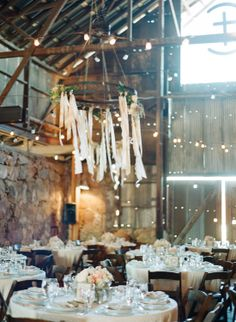 barn with lights and chandeliers