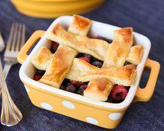 Raspberry & Blueberry Lattice Top Individual Pies @betterrecipes #lovethepie