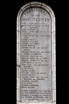 Monument listing the passengers of the Mayflower.