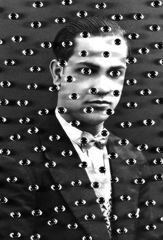 B & W Vintage Photo of Man Surrounded by Surrealist Eyes. Pop Art, surrealist art.