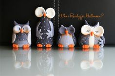 Whimsical Halloween Owls made from fondant.