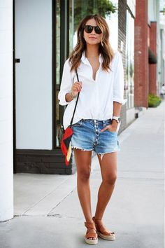 perfect weekend casual outfit: white button-up, slouchy jean cutoffs, and neutral flatform espadrilles