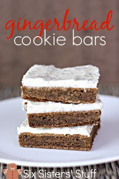 Gingerbread Cookie Bars from SixSistersStuff.com- all the goodness of a gingerbread cookie without all the work!
