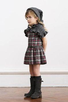 Amazing mini plaid dress with knee high boots. Nanos AW 14. #estella #designer #kids #clothes