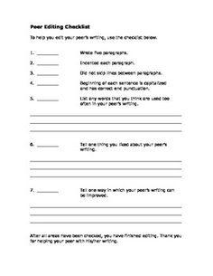 Peer editing checklist high school research paper