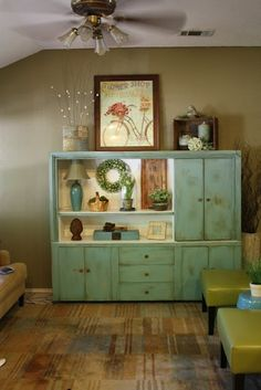 Repainted furniture - sublime decor great makeover for old entertainment center. Love the color!
