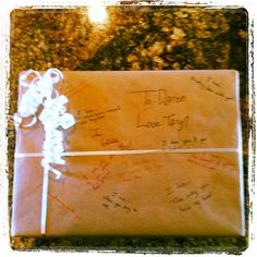 Cute idea for a birthday present for your boyfriend or husband. Write everything you love about them on the paper!