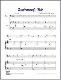 Scarborough Fair | Free Sheet Music for Cello - http://makingmusicfun.net/htm/f_printit_free_printable_sheet_music/scarborough-fair-cello.htm