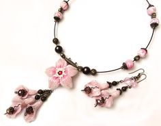 Lovely pink and brown  Polymer Clay Jewelry Set by flowerdeco, $49.00