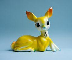 dear deer, vintag deer, yellow deer, deer figurin