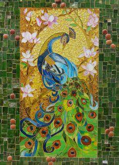Fabulous peacock made of little tiles