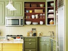 Green Paint Colored Cabinets