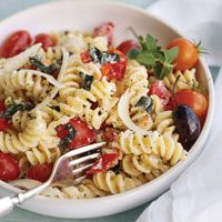 FUSILLI WITH HERBED RICOTTA & GRAPE TOMATOES: Everyone loves a pasta dish, especially when it is this easy to make  #pasta #tomatoes