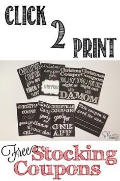 Free Printable Stocking Stuffer Coupons!  Too cute!