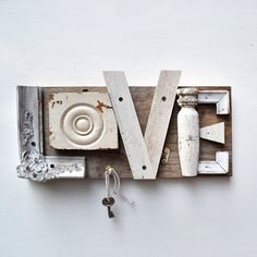 typography love architectural salvage sign letters L O V E ORIGINAL ART  by Elizabeth Rosen.