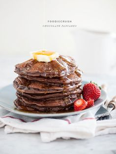 Chocolate Pancakes @Heidi Haugen | FoodieCrush