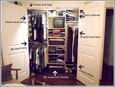 how she organizes their master closet. LOVE the detail in the explanations. Seriously.