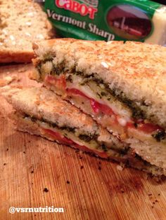 Sharp Cheddar, Tomato & Basil Pesto Grilled Cheese