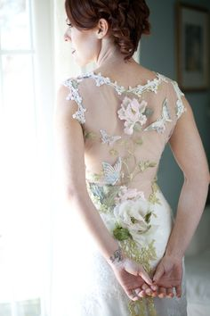 Claire Pettibone 'Papillon' wedding dress, Still Life Collection | Photo: Lucy Munoz featured on Style Me Pretty http://www.clairepettibone.com/papillon