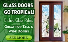 Tropical Palm Etched Glass window film for Doors.