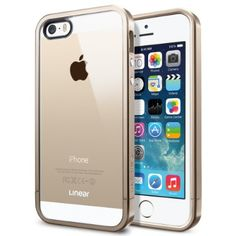 SPIGEN iPhone 5S Case Bumper [Linear Metal Crystal] [Champagne Gold] Free Screen Protector + Bumper Case with Clear Back Cover for iPhone 5S and iPhone 5 - Champagne Gold (SGP10615):Amazon:Beauty