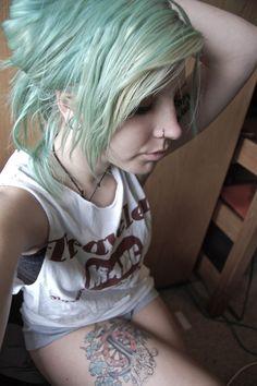 Mint Hair thigh tattoos, color, blue hair, mint, tattoo girl, tattoo beauti, inkd girl, blond short, bang