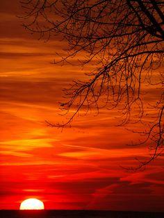 Sunrise over Lake Erie.