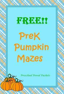 #Free #Pumpkin Mazes!!  #preschoolactivities
