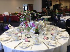 """Decorated for a ladies Tea Party for charity """"Club Christ"""" helping at risk kids in housing projects."""