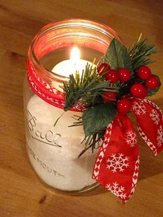 Decorative candle lights. Use epsom salt to hold the candles in the jar - it glistens like snow for Christmas..such a simple but stunning accent...dress up or down with your ribbon and floral choice