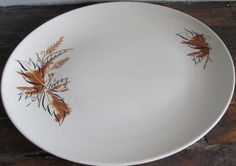 Vintage Mid Century Thanksgiving Oval Serving Platter w/ Autumn Leaf Pattern