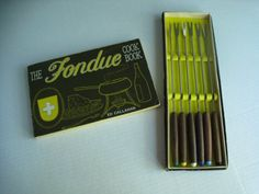 vintage fondue forks and cookbook