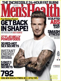 David Beckham cover on Men's Health Magazine, the March 2012 issue.  To contact TWX Magazine Customer Service by phone about your Men's Health (TWX * MENSHEALTH) magazine subscription: 1- (877) 463-3032