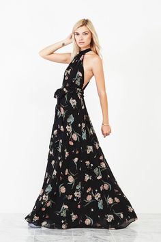 We love dark florals + this maxi from Reformation is bridesmaid perfection!