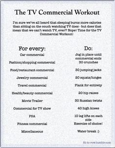 TV Commercial Workout.