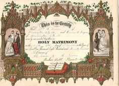 antique wedding certificate