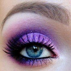 Purple and pink eyeshadow.