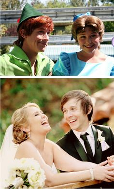 The two people who play Wendy and Peter Pan at Disney World got married in real life. This makes me really happy!