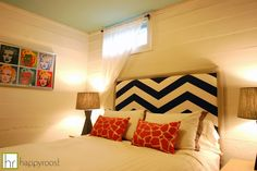 DIY Chevron headboard here: http://www.happyroostblog.com/2012/05/diy-upholstered-headboard.html    Guest Room designed by Laura Quinn of Happyroost Interiors.