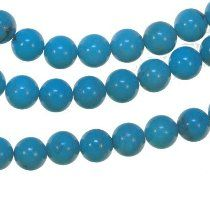 Turquoise Blue Round Beads Strand 7mm 15.5""