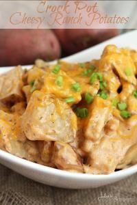 Crock Pot Cheesy Ranch Potatoes ~ Super Easy, Cheesy Crock Pot Potatoes Loaded with Ranch! on MyRecipeMagic.com
