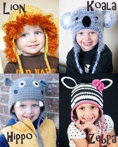 Animal Hat Patterns Crochet Collection 3 (Lion, Koala, Hippo & Zebra/Horse), (Permission to sell all finished products)  15$ @Paula manc Osborne