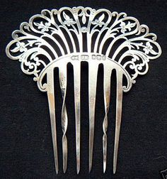 antique sterling hair comb