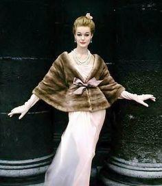Monique Chevalier in an Emba mink jacket by Marron Fourrures, photo by Virginia Thoren, 1958.