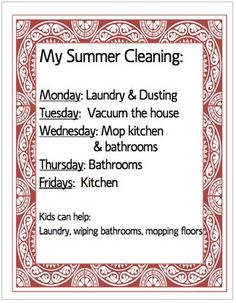 Get your summer off right with a summer cleaning schedule. FREE printable.