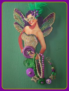 ButtonArtMuseum.com - Mardi Gras Button fairy