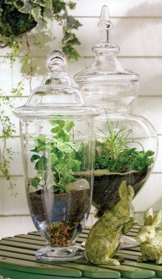 Terrariums. Easy to do - get the jars at Micheal's and fill with pretty river rocks and artificial foliage. Never needs watering and looks great.